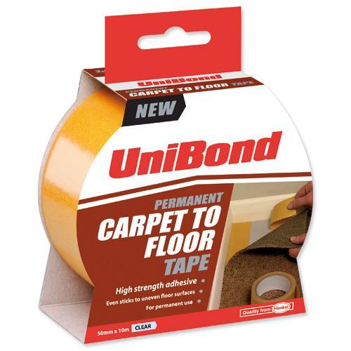 Unibond Carpet To Floor Tape Permanent 50mmx10m Ref