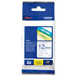 Brother P-touch TZ 233 Blue on White 12mm x 8m TZ Tape Label Ref TZ233