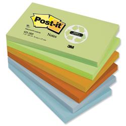 Post-it Notes Recycled 100 Sheets per Pad 76x127mm Pastel Rainbow Ref 655-1RP - Pack 12
