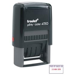 Trodat EcoPrinty 4750 Stamp Self-Inking Word & Date Stamp PAID BY BACS ON 40x24mm Red and Blue Ref 54294