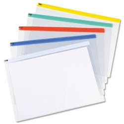 5 Star Office Zip Filing Bags PVC Clear Front with Coloured Seal A3 Assorted [Pack 5]