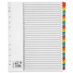 5 Star Office Maxi Index Extra-wide 150gsm Card with Coloured Mylar Tabs 1-31 A4 White
