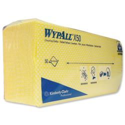 Wypall X50 Colour Coded Cleaning Cloth Yellow Ref 7443 - Pack 50