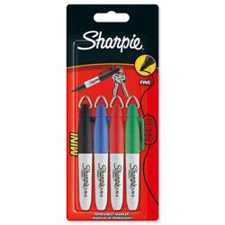 Sharpie Portable Fine Mini Permanent Marker Assorted Black Blue Red Green Ref S0751180 - Wallet 4