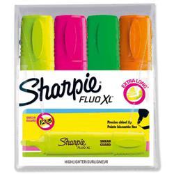 Sharpie Fluo XL Highlighter Chisel Tip 3 Widths Assorted Ref 1825662 [Pack 4]