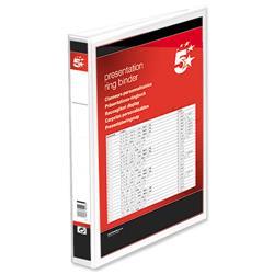 5 Star Office Presentation Ring Binder Polypropylene 2 D-Ring 38mm Size A4 White [Pack 10]