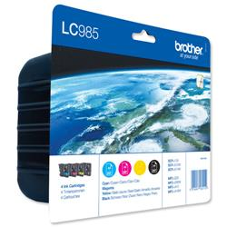 Brother Inkjet Cartridge Value Pack Page Life 1080pp Black/Cyan/Magenta/Yellow Ref LC985VALBP - Pack 4