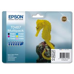 Epson T0487 Inkjet Cartridge Seahorse Multipack Black and 5 Colours Ref C13T04874010 - Pack 6