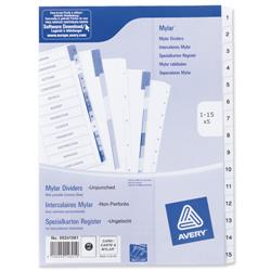 Avery Index Unpunched 1-15 White A4 Ref 05241061 - Pack 5