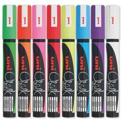 uni PWE-5M Chalk Marker Broad Bullet Tip Line Width 1.8-2.5mm Assorted Ref 5046670 - Wallet 8