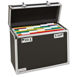 Personal Filing Case Robust Lockable A4 Black and Chrome