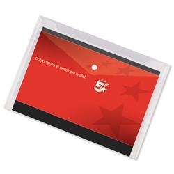 5 Star Office Envelope Stud Wallet Polypropylene A3 Transparent [Pack 5]