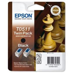 Epson T0511 Inkjet Cartridge Chess Page Life 1800pp Black Ref C13T05114210