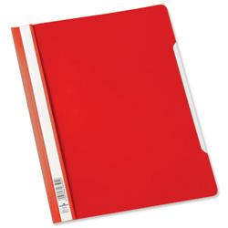Durable Extra Wide A4 Clear View Folder Plastic with Index Strip Red Ref 257003 - Pack 50