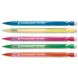 5 Star Office Disposable Mechanical Pencil Retractable with 3 x 0.7mm Lead Assorted Barrels [Pack 10]