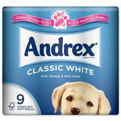 Andrex Toilet Rolls 2-Ply 240 Sheets Classic White Ref 1102055 [Pack 9]