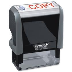 Trodat Office Printy Stamp Self-inking Copy 18x46mm Red Symbol and Blue Wording Ref 90734