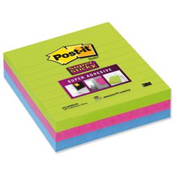 Post-it Super Sticky Removable Notes Pad 100x100mm Assorted Ref 675-3SSMX-EU - Pack 3