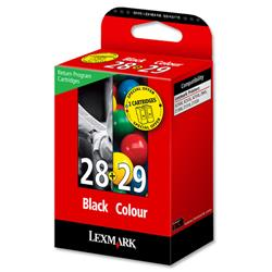 Lexmark No. 28 and No. 29 Inkjet Cartridge Page Life 175/150pp Black/Colour Ref 18C1520E - Pack 2