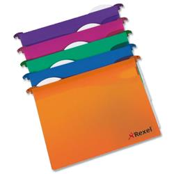 Rexel Multifile Extra Suspension File Polypropylene Base W30mm Foolscap Assorted Ref 2102574 [Pack 10]