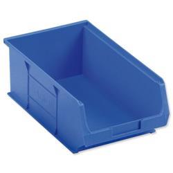Container Bin Heavy Duty Polypropylene W350xD205xH132mm Blue [Pack 10]