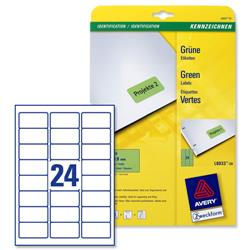 Avery L6033 Green Coloured Labels Laser 24 per Sheet 63.5x33.9mm Ref L6033-20 - 480 Labels