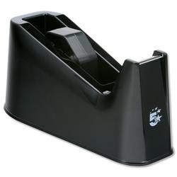 5 Star Office Tape Dispenser Desktop Weighted Non-slip Roll Capacity 25mm Width 66m Length Black