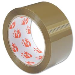 5 Star Office Packaging Tape Polypropylene 50mm x 66m Buff [Pack 6]