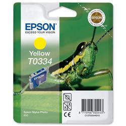 Epson T0334 Inkjet Cartridge Intellidge Grasshopper Page Life 440pp Yellow Ref C13T03344010