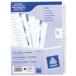 Avery Index Unpunched A-Z 26-Part White A4 Ref 05244061 - Pack 5