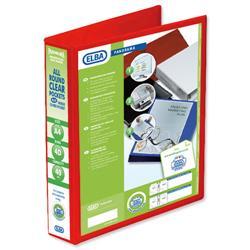 Elba Panorama Presentation Ring Binder PVC 4 D-Ring 40mm Capacity A4 Red Ref 400008507 [Pack 6]