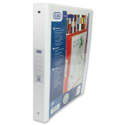 Elba Vision Ring Binder PVC Clear Front Pocket 4 O-Ring Size 25mm A4 White Ref 100080879 [Pack 10]