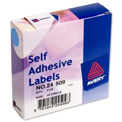 Avery 24-509 Labels in Dispensers 19mm diameter Blue Ref 24-509 - 1120 Labels