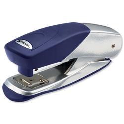 Rexel Matador Half Strip Stapler 70mm Throat Depth for 26/6 24/6 Silver and Blue Ref 2100951