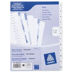 Avery Index Unpunched 1-12 White A4 Ref 05240061 - Pack 10