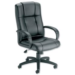 Trexus Intro Sussex Manager Chair Back H670mm W530xD520xH500-600mm Leather Black Ref QL817- OfficeFurniture