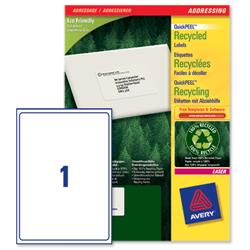 Avery LR7167 QuickPEEL Recycled Addressing Labels White Ref LR7167-100 - 100 Labels