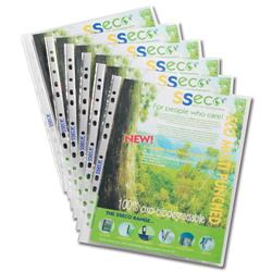 SSeco Punched Pockets Polypropylene Oxo-biodegradable Multipunched A4 Clear Ref PP50 [Pack 100]