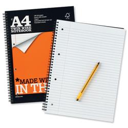 Silvine Notebook Wirebound Perforated Punched Ruled 160pp 75gsm A4 Ref TWPA4 - Pack 6