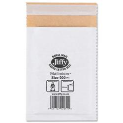 Jiffy Mailmiser No.000 White Bubble-lined Protective Envelopes 90x145mm Ref JMM-WH-000 - Pack 150