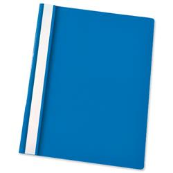 Esselte Report Flat File Lightweight Plastic Clear Front A4 Blue Ref 56285 [Pack 25]
