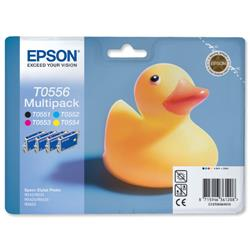 Epson T0556 Inkjet Cartridge Duck Black/Cyan/Magenta/Yellow Ref C13T05564010 - Pack 4