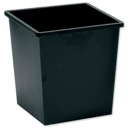 5 Star Facilities Waste Bin Square Metal Scratch Resistant W325xD325xH350mm 27 Litres Black