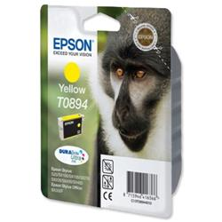 Epson T0894 Inkjet Cartridge DURABrite Monkey Page Life 200-265pp Yellow Ref C13T08944011