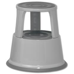 5 Star Facilities Step Stool Mobile Spring-loaded Castors Max 150kg Top D290xH430xBase D435mm 5kg Grey