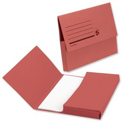 5 Star Office Document Wallet Half Flap 285gsm Recycled Capacity 32mm Foolscap Red [Pack 50]