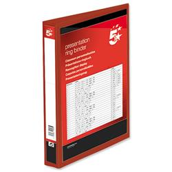 5 Star Office Presentation Ring Binder Polypropylene 4 D-Ring 38mm Size A4 Red [Pack 10]