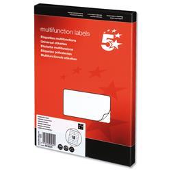 5 Star Office Labels Laser Copier and Inkjet 105x35mm 16 per Sheet [1600 Labels]