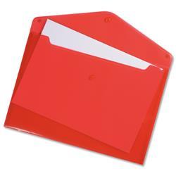 5 Star Office Envelope Stud Wallet Polypropylene A4 Translucent Red [Pack 5]