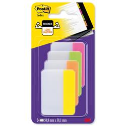 Post-it Index Filing Tabs Strong Flat 51x38mm Six Each of 4 Colours Assorted Ref 686-PLOY [Pack 24]